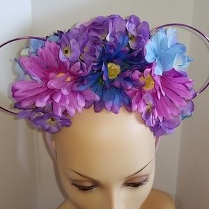 Floral headband with wire mouse ears